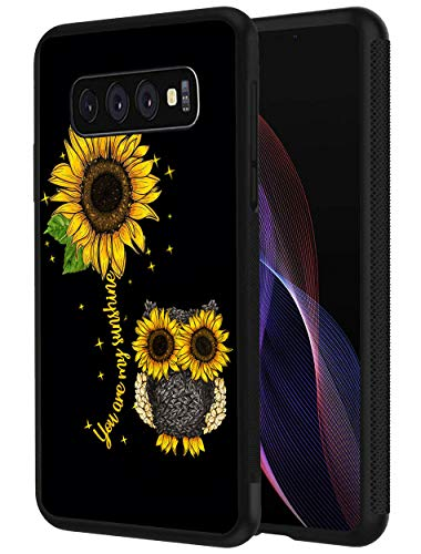 Galaxy S10 Plus Case, Slim Anti-Scratch Shockproof Silicone TPU Protective Cover for Samsung Galaxy S10 Plus (2019) 6.4 inch, Sunflower and Sunflower Seeds Owl Art