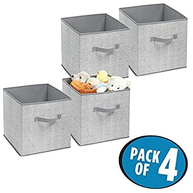 mDesign Fabric Baby Nursery Closet Storage Organizer Cube for Toys, Stuffed Animals, Clothes, Blankets - Pack of 4, Gray