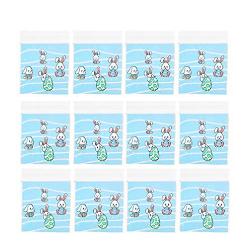 PRETYZOOM 300 Stück Ostern Geschenkbeutel Kaninchen Eier Kekse Taschen Selbstklebende Kekse Taschen Süßigkeitenhalter Geschenk Tasche Aufbewahrungsbeutel Ostern Party Dekoration (7X7cm)