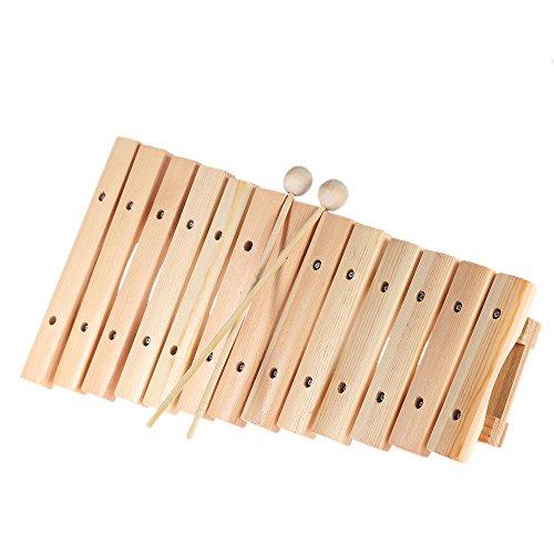 Glockenspiel, Andoer Musical xilofone piano instrumento de madeira para crianças crianças bebê música brinquedos educativos com 2 marretas