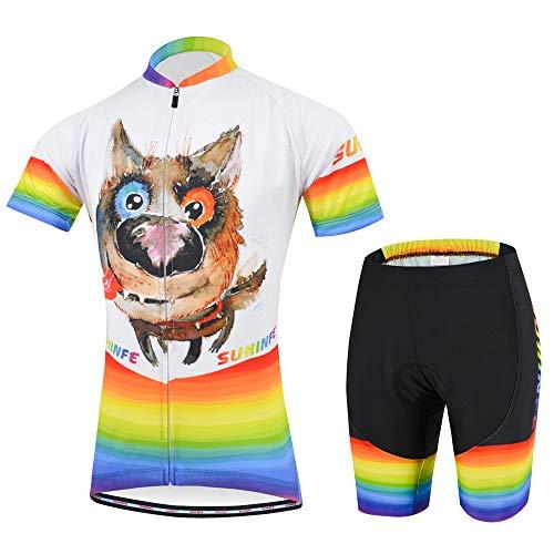 Radsport-Bekleidung für Jungen, Karikatur Rennrad Trikot Kinder mit Radhose mit Sitzpolster für MTB und Pro Team, Sommer (2XS, Hund)