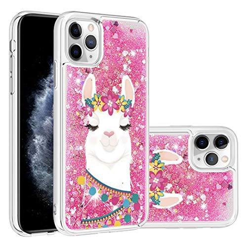 Para iPhone 11 Pro Case, 3D pintado con purpurina de arena movediza fluyendo líquido Bling Sparkle lindo transparente TPU parachoques gel silicona funda protectora para niñas mujeres venados flores