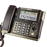 N&W Corded Telephone and Caller ID Big Button Corded Telephone Desk/Wall Mounted In Gold Coffee Corded with Answer Machine