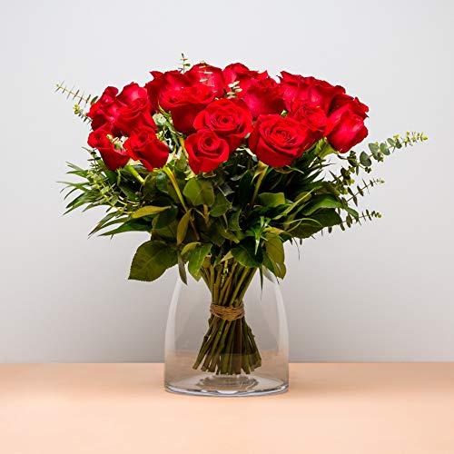 Ramo de 24 Rosas - Envío de Ramos de Flores Naturales a Domicilio 24h Gratis - Flores Frescas - Tarjeta dedicatoria incluida de Regalo - Caja Especial para Ramos de Flores Naturales…