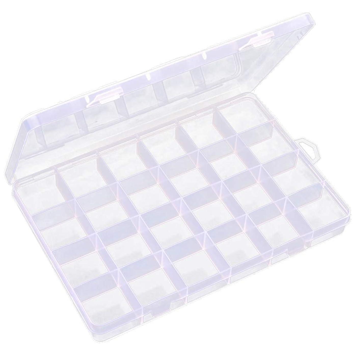 収束する柔らかい足印象派DYNWAVE 透明 ジュエリーボックス ネイルアートケース ビーズ 宝石 小物入れ 収納ボックス 24区画 多機能
