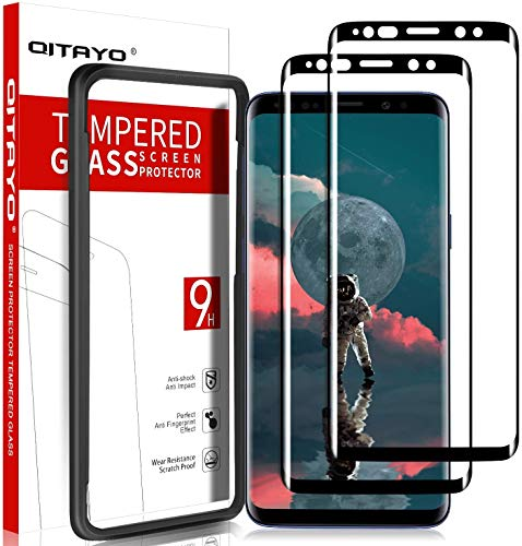 QITAYO [2 Stück] Panzerglas Schutzfolie für Samsung Galaxy S9 mit Positionierhilfe, Samsung Galaxy S9 Folie Glas Displayschutzfolie Panzerglas