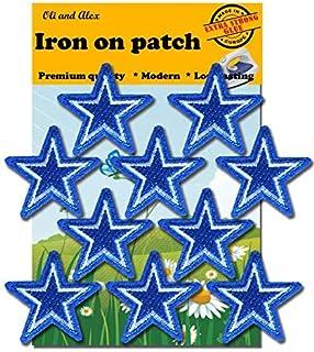 رقع قماشية بالكي - صمغ أزرق قوي جدًا، 10 قطع بالكي على رقعة مزخرفة بنجمة A-94