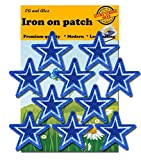Iron On Patches - Extra Strong Glue Blue Star Patch 10 pcs Iron On Patch Embroidered Applique Star A-94