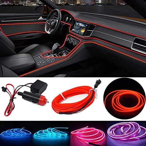STARPIA Ambientebeleuchtung Innenraumbeleuchtung LED, LED 12V Ambiente Lichtleiste Streifen, LED Stripes 5M EL Wire LED Licht Streifen Auto Dekoration (Rot)