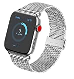 Vanjua Metal Correa Compatible con Apple Watch Correa 44mm 42mm 38mm 40mm,Pulsera de Repuesto de Inoxidable Correa para iWatch Series 6 5 4 3 2 1,Mujer y Hombre (38mm/40mm, 01 Plata)