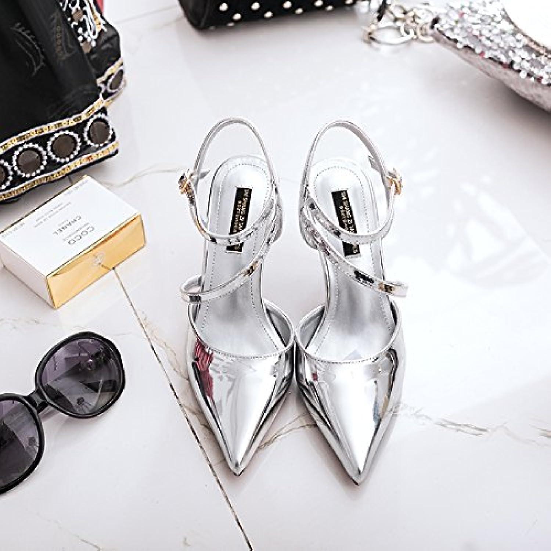 Xue Qiqi Geschlitzte Riegel Sandalen silber Schuhe mit hohen Absätzen fein mit wilden Baotou Lack Leder Damen Schuhe flache Mund einzelne Schuhe mit, 34, Silber [6]    Outlet    Guter weltweiter Ruf    Vorzüglich