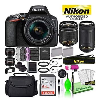 Nikon D3500 24.2MP DSLR Digital Camera with 18-55mm and 70-300mm Lenses  1588  USA Model Deluxe Bundle -Includes- Sandisk 64GB SD Card + Large Camera Bag + Filter Kit + Spare Battery + Telephoto Lens