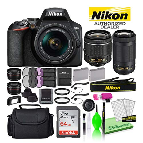 Nikon D3500 24.2MP DSLR Digital Camera with 18-55mm and 70-300mm Lenses (1588) USA Model Deluxe Bundle -Includes- Sandisk 64GB SD Card + Large Camera Bag + Filter Kit + Spare Battery + Telephoto Lens