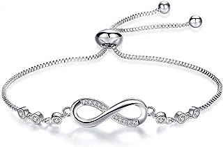Pulsera de mujer, pulsera de cristal ajustable, pulsera de plata chapada en platino, pulsera de circonita cúbica, regalo d...