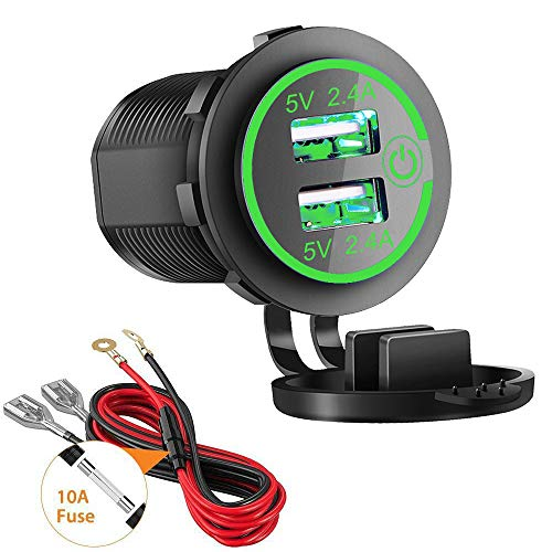 Dual USB Charger Socket, 2.4A & 2.4A Waterproof 12V/24V Dual USB Fast Charger Socket Power Outlet with Touch Switch for Car Marine, Boat, Golf Cart, Motorcycle, Truck and More(4.8A-Green)