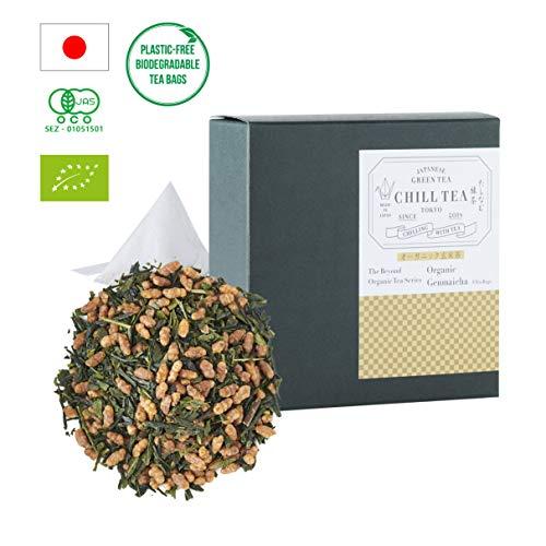Bio-Genmai Cha Loser Tee von CHILL TEA Tokyo - 100% Bio-Grüner Tee mit Braunem Reis - 100% plastikfrei, natürlichen und biologisch abbaubaren teebeutel - (8 Teebeutel)