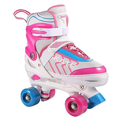 Hikole Rollschuhe für Mädchen Kinder, verstellbare Rollschuhe mit 8 PU-Rädern für Anfänger Frauen Männer Jungen.