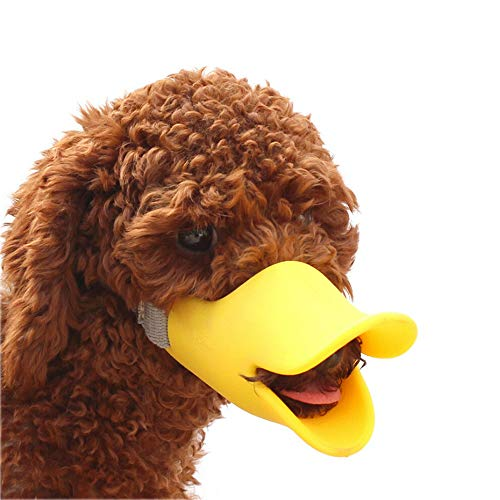 Anti Bite Dog Mouth Covers, Duck Mouth Shape, Anti-Called Muzzle Masks,Pet Mouth Set Bite-Proof, Silicone Material(Yellow M)