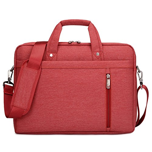 SHUL Water Resistant 17 inch Business Laptop Shoudlder Bag Shockproof Messenger Crossbody Bag Briefcase for Notebook Computer Chromebook Ultrabook Acer Dell Hp Sony Ausa Samsung Lenovo Red