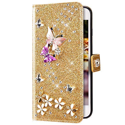 Uposao Kompatibel mit Samsung Galaxy S20 Plus Hülle Schmetterling Blume Diamant Strass Bling Glitzer Handy Hülle Leder Wallet Schutzhülle Brieftasche Hülle Klapphülle Tasche Kartenfächer,Gold