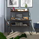 HABILY Morden Computer Desk with Hutch Storage Shelves, 47 Inch Industrial Work Desk Ladder Desk with Bookshelf and Tower Storage for Home Office (Rustic)