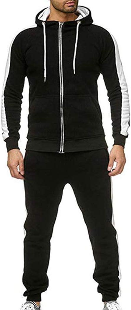 Hanomes Surv/êtements Homme Ensemble Jogging Manches Longues Zipper Sport Jogging Top Hoodie Sweatshirt De Pantalon Hommes Sport Causal V/êtements Sweat-Shirt Pantalons 2 Pi/èces