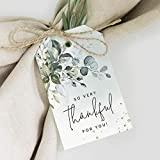 Bliss Collections Thank You Gift Tags, 50 Greenery Watercolor Favors for Wedding, Bridal Shower, Baby Shower Favors - Perfect for Birthday, Events, Celebrations, Thank You for Celebrating with Us Tag