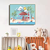 Danjiao Badeurlaub Cartoon Kinder Wandbild Poster Drucken Kokos Baby Zimmer Leinwand Malerei Kalligraphie Kinder Kinder Wandkunst Wohnzimmer 40x60cm