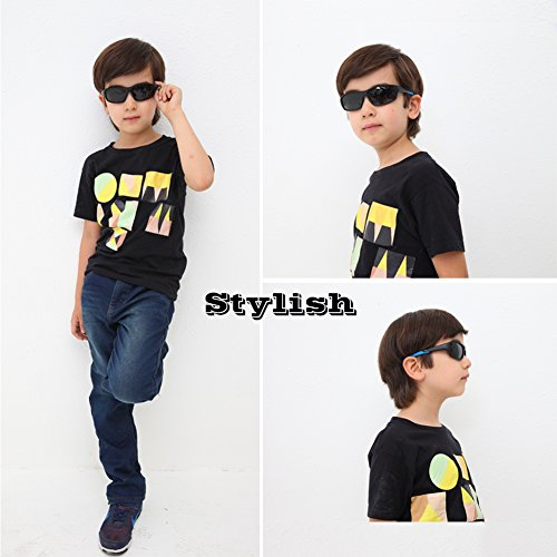 DUCO Kids Sunglasses Boys Sports Sunglasses Youth Polarized Sunglasses For Boys And Girls Age 3-10 With Rubber Flexible Frame Black K005