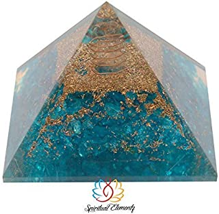 Spiritual Elementz Reiki Charged Chakra Healing Turquoise Orgone Pyramid (3' Inch) with Clear Crystal Gemstone Copper Metal (Stone for Cleanse Your Energy Centers)