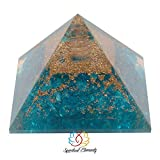turquoise healing crystal - Spiritual Elementz Reiki Charged Chakra Healing Turquoise Orgone Pyramid (3' Inch) with Clear Crystal Gemstone Copper Metal (Stone for Cleanse Your Energy Centers)
