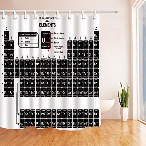 Nyngei Ciencia decoración Tabla periódica de los Elementos para Estudiante Cortinas de Ducha Tejido de poliéster Baño Impermeable 180X180CM Negro Blanco