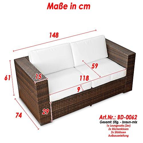 XINRO® (2er Polyrattan Lounge Sofa - Gartenmöbel Couch Bank Rattan - durch andere Polyrattan Lounge Gartenmöbel Elemente erweiterbar - In/Outdoor - handgeflochten - braun - 2