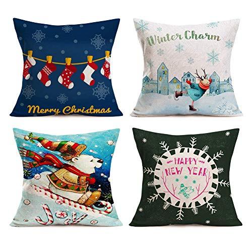 WXM Funda de cojín decorativa con diseño de reno y oso de Navidad feliz y feliz año nuevo, 4 unidades de funda de almohada de lino de algodón, 45,7 x 45,7 cm (4 unidades, dibujos animados de Navidad)