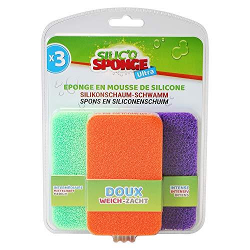 Silikon Schwamm 3er Set | Spülschwamm waschbar 3 Farben | Kitchen Sponge Silikon 3 St. |...