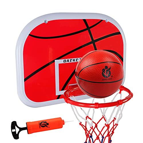 QLTY Aro de Baloncesto para niños montado en la Pared con Bola de Red y Bomba,Juego de aro y Tablero de Baloncesto para niños,Juguetes portátiles para Interiores y Exteriores Juegos Deportivos