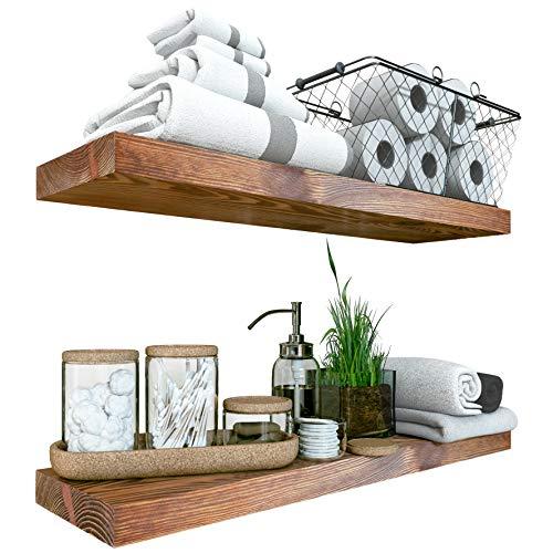 BAOBAB WORKSHOP Wood Floating Shelves Set of 2 - Rustic Shelf 24 inch - Made in Europe - Wide Wooden Wall Shelves for Living Room Bedroom Kitchen Bathroom Farmhouse - Walnut Color - 24' x 6.7'