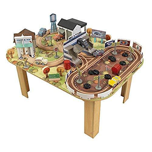 KidKraft 17209 Disney Pixar Cars 3 autorebaan & speeltafel Thomasville van hout voor kinderen met 73 bouwstenen, speelgoedauto's en accessoires