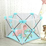 Playpen for Baby, Johgee Kids 6-Panel Portable Baby Playpen, Indoors or Outdoors Child Playpen Fence with Playmat& Carry Case & Breathable Mesh for Babies Toddler Newborn Infant (Pink Hexagon)