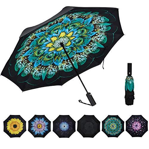 VIWINVELA Inverted Umbrella Double Layer Folding Reserve Umbrella Windproof for Travel Men Women Peacork Ling