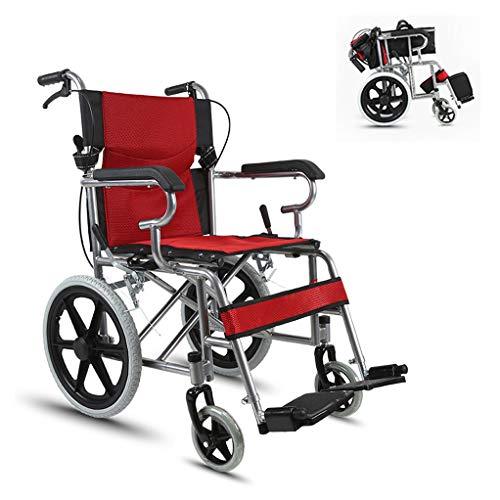 Fire cloud Opvouwbare rolstoel, lichte stoel met eigen aandrijving, met grote opbergzak, draagbaar transportkussen, inklapbaar pedaal en remgreep, 18,8 inch zitje