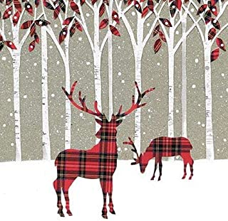 Pack of 8 Tartan Deer ABF The Soldiers' Charity Fairdeal Charity Christmas Cards