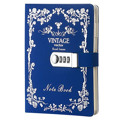Digitales Passwort-Notizbuch aus Leder mit Zahlenschloss, Tagebuch mit Bronzeschloss, Tagebuch (blau)