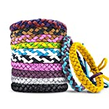 12 Pack Mosquito Repellent Bracelets, Individually Wrapped PU Leather Insect & Bug Repellent Wrist Bands for Kids & Adults Outdoor Camping Fishing Traveling