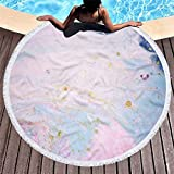 IAMZHL Toalla de Playa con patrón Abstracto de mármol de Microfibra, Toalla de Yoga Redonda Grande de Acuarela con Borla, Cubierta de Manta de Playa-a63-Diameter 150cm