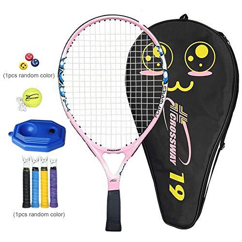 Raqueta de tenis para principiantes de niños, con cuerda de mango de amortiguador, compuesta de cubierta de pala de tenis para diferentes edades, rosa