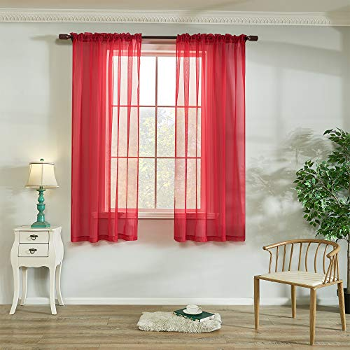 Red Voile Sheer Curtains Light Filtering Rod Pocket Windows Treatment Panels Drapes 63 Inches Long for Living Room and Bedroom Solid Sheer Curtains 2 Pieces 52 X 63 Inch Length Red