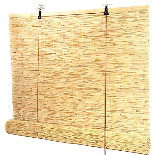 HJRD Tenda a Lamella Tenda di bambù,Tenda a Canna per finestre,Tenda Arrotolabile a Canna Naturale Tessuta a Mano, Tenda Parasole divisoria, per Finestra/Gazebo/Balcone/Patio(Size: 60x220cm/24x87in)