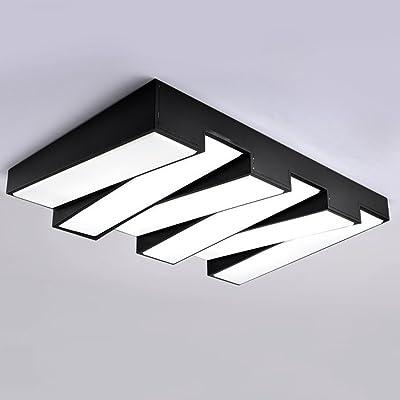 Ywyun plafond moderne de l'énergie, LED haute luminosité plafond, salon circulaire, salle à manger, couloir, lumières de la chambre, 110-240 énergétique (Color : Black-6 lights)