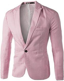 BHYDRY Charm Men's Casual Slim Fit One Button Suit Blazer Coat Cotton Jacket Solid Tops Lapel Outwear(XXXL,Pink)